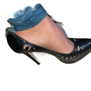 BCBG Black Laser Cut Leather Heels S 8 1/2